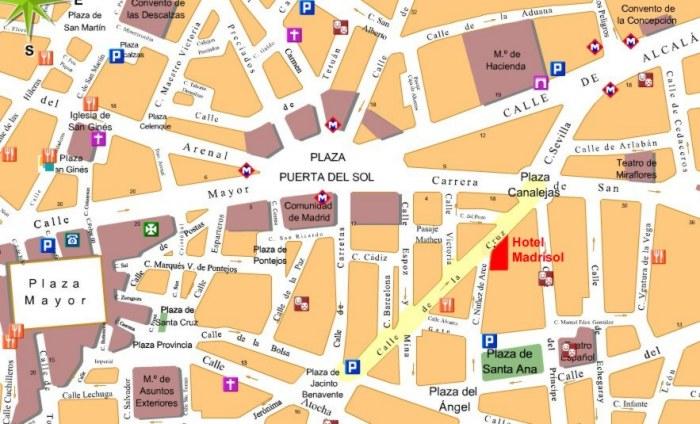 Cartina Di Londra Monumenti.Mappa Di Madrid